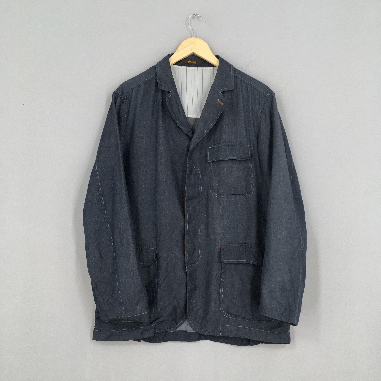 Vintage Casual Zip Up Jacket Black Medium Japan Workers Cargo Coats Punk Multi Zipper Stylish Jacket Lighweight Size M