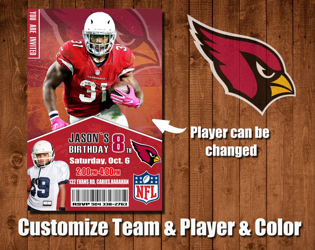 Custom Cardinals 5th birthday party invitations,David Johnson ...