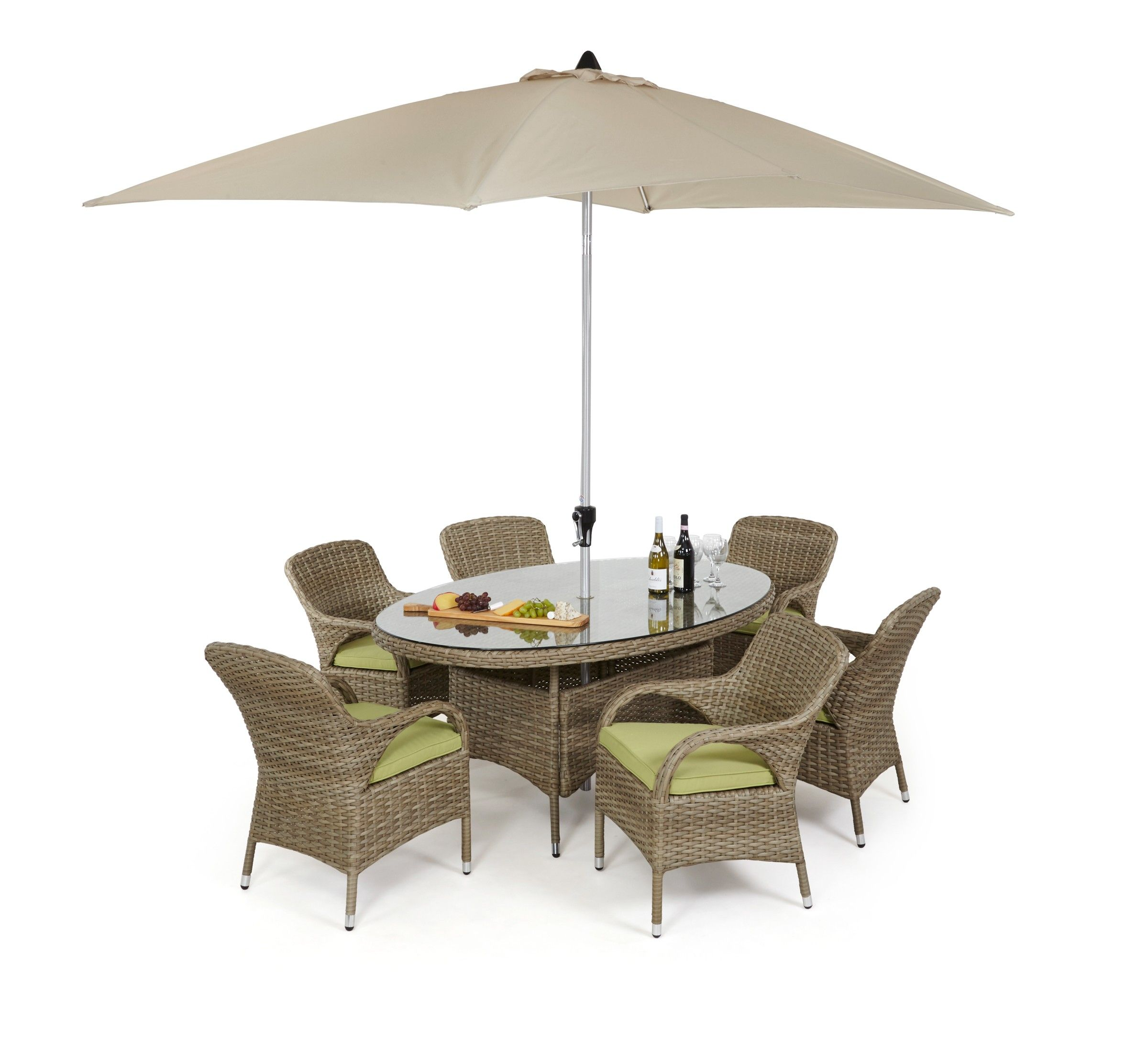 Maze rattan milan seat oval dining set with arm chairs outdoor