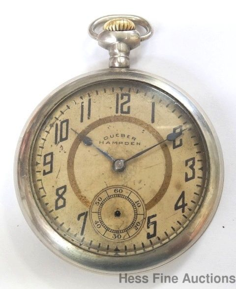 52c7b6a317e Antique Hampden Dueber Number 109 Open Face 15j Mens Pocket Watch Running.  Relógio ...