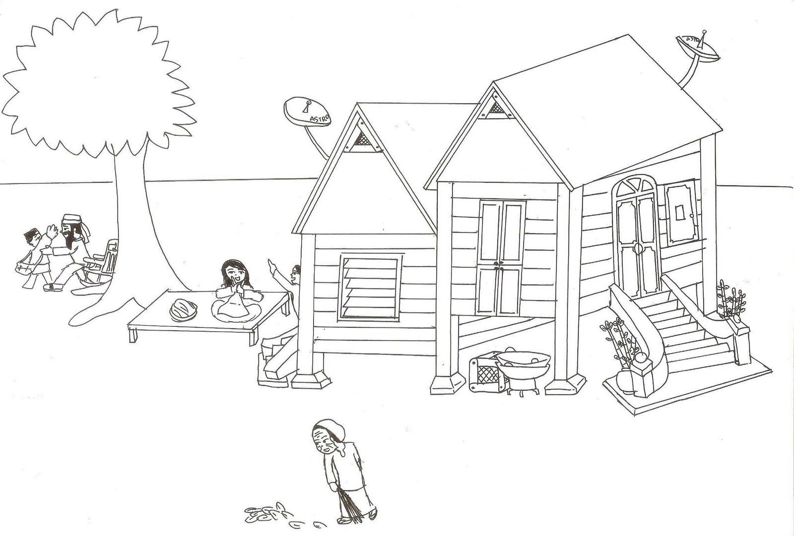Lukisan Rumah Kampung Simple