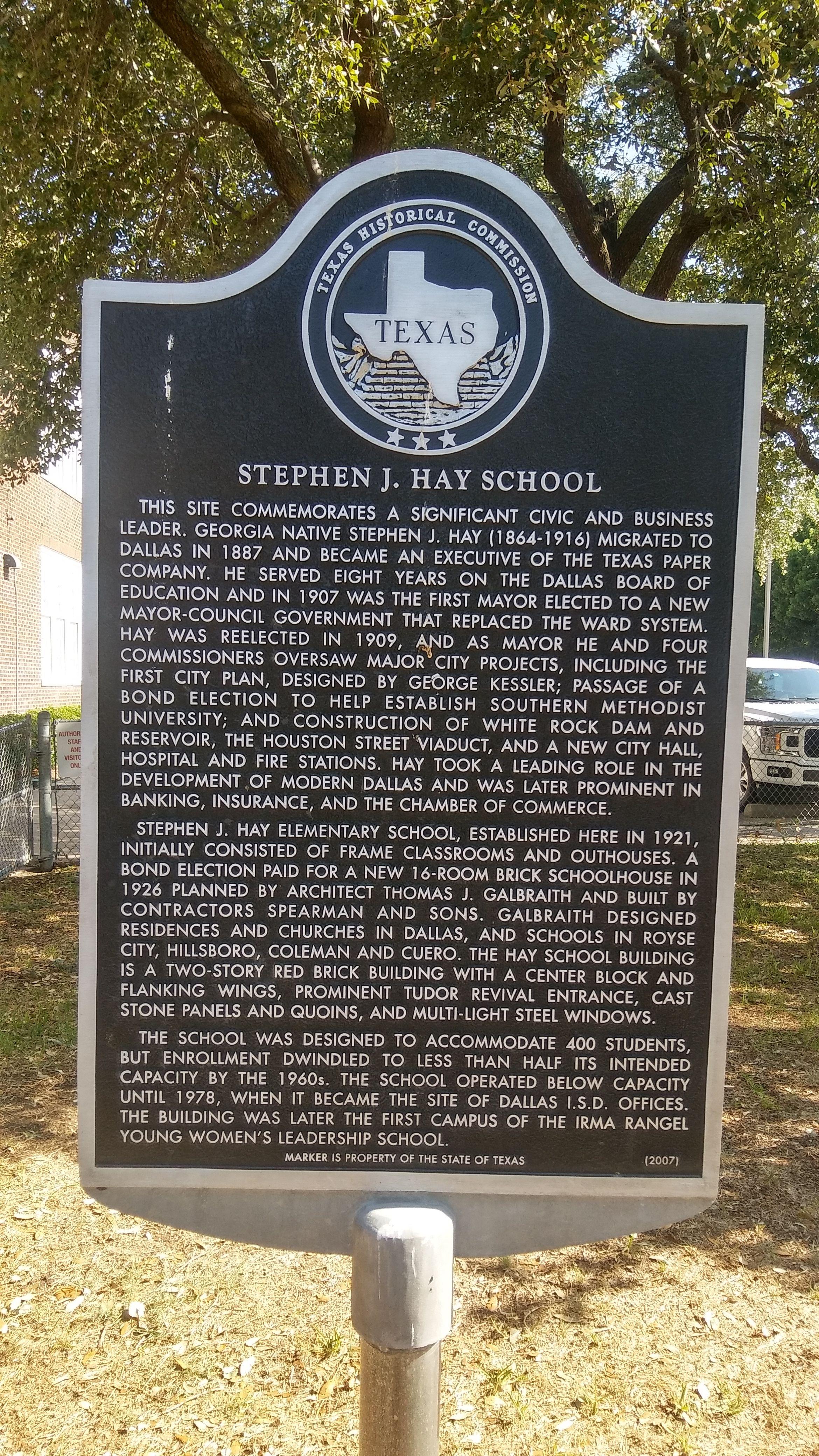 Stephen J Hay Elementary School Marker