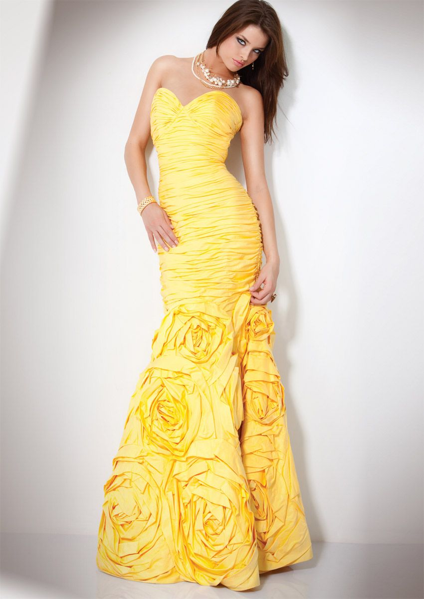 New Cheap Yellow Mermaid Sweetheart Floor Length Zipper Prom Dresses With Ruffles online sale fast shipping