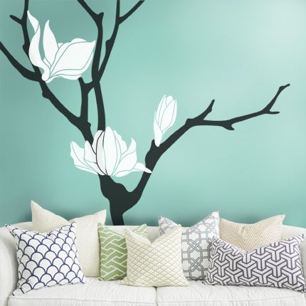 Magnolia flower tree decal simple shapes wall decals furniture and accessories