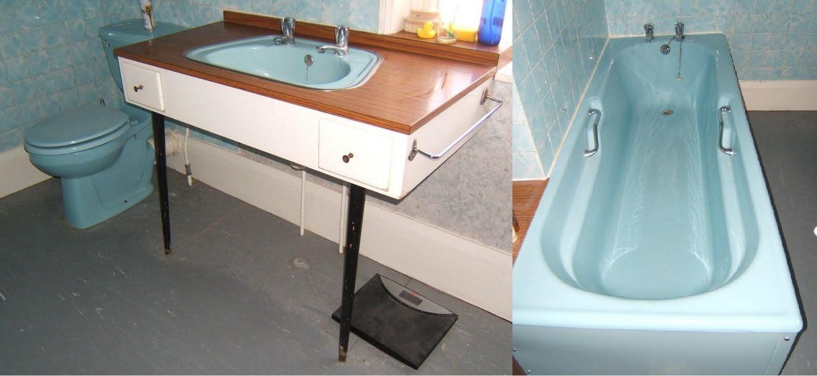 Details About Blue Bathroom Suite With Retro Vanity Unit 1960 S