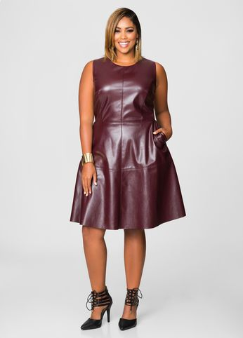 Faux Leather Skater Dress Das Andere Km Kleid Pinterest
