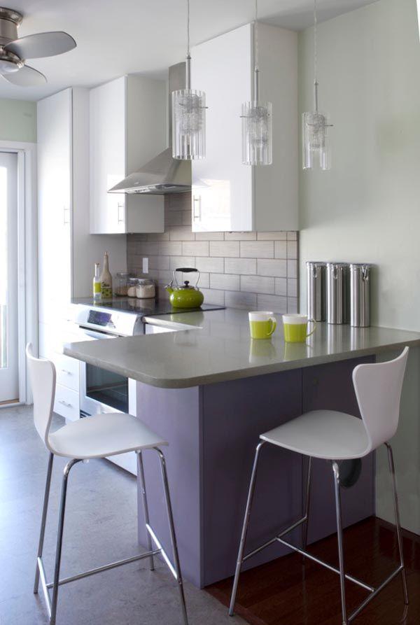 kleine-Küche-mit-eckiger-Thekejpg (600×893) Home Pinterest