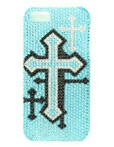 Phone case with a blue sparkling background and sliver and black crosses on it. May be found at Sheplers.com