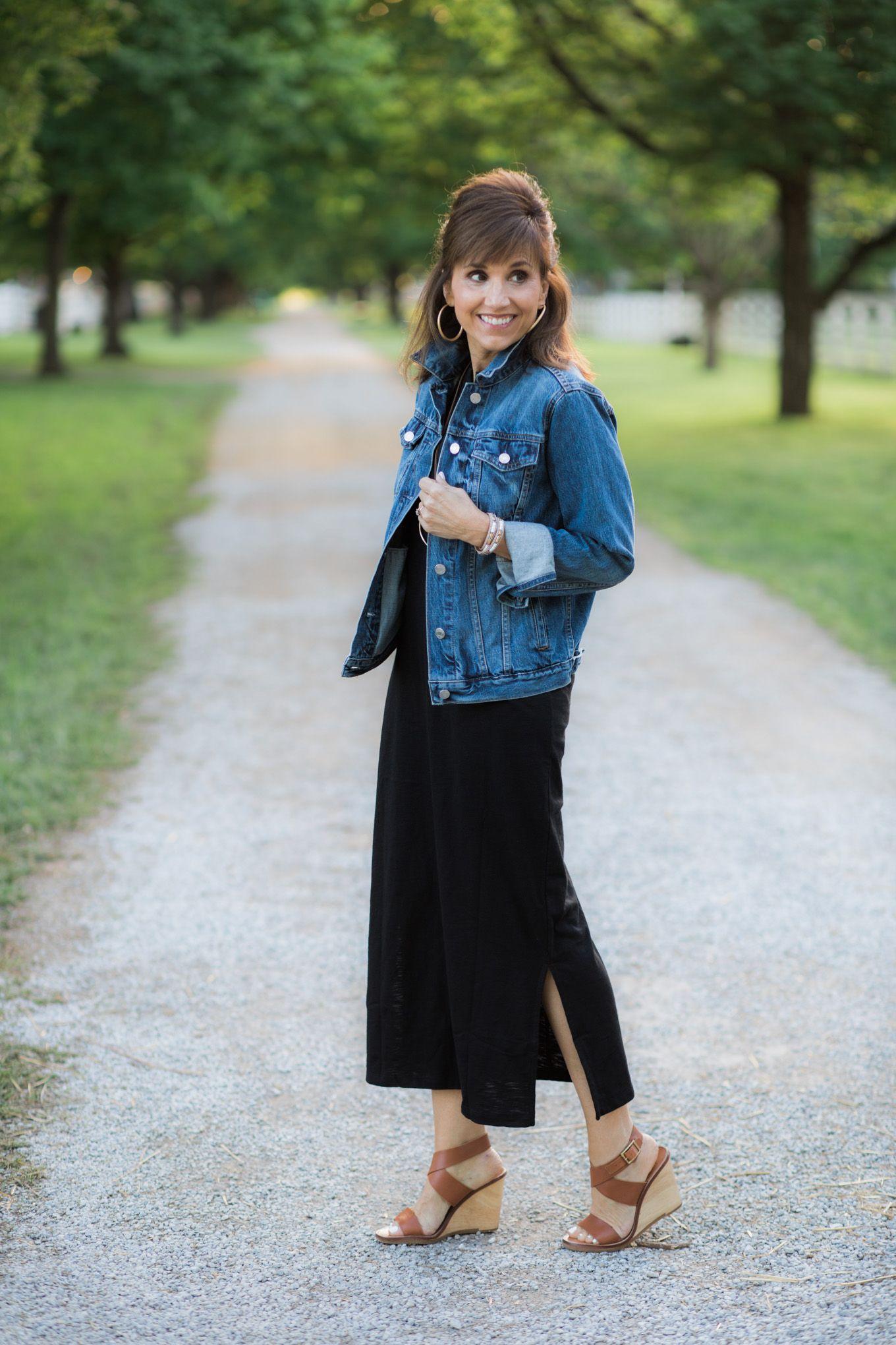e06e10715c68 Black Maxi Dress + Denim Jacket