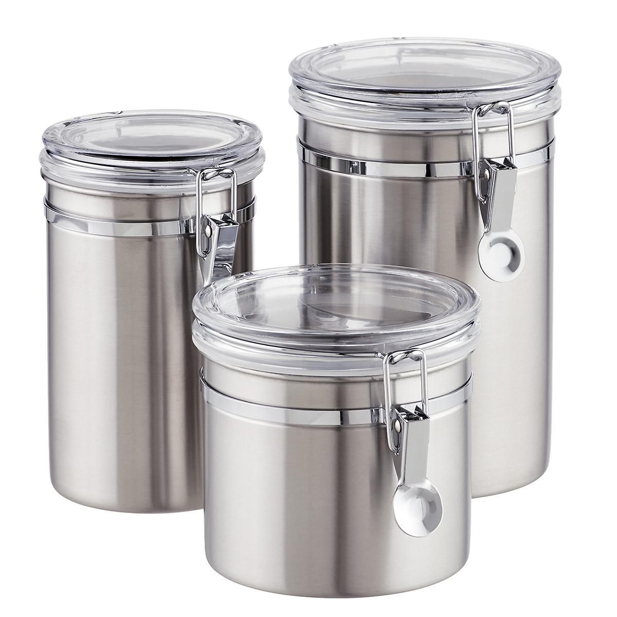 Stainless Steel Canisters Brushed Stainless Steel Canisters The Container Stor Stainless Steel Canister Set Kitchen Canister Sets Stainless Steel Canisters