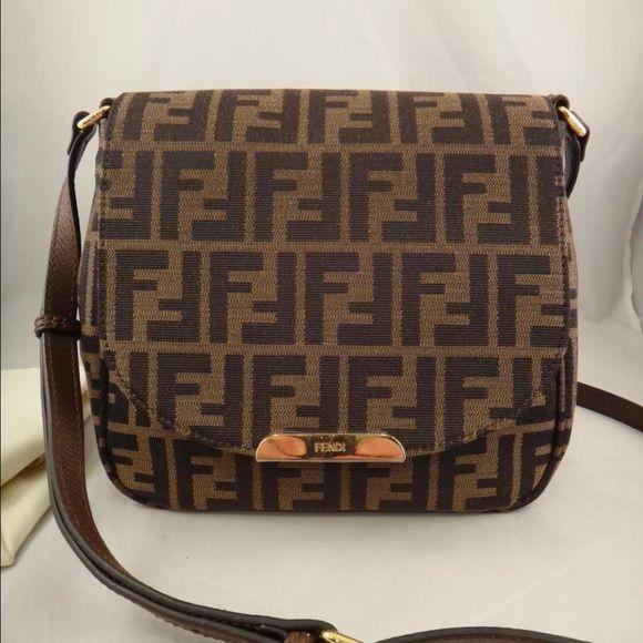 e2a4d5d0 Nwt Fendi bag NWT Fendi Zucca Monogram Canvas Brown Leather FF Logo ...