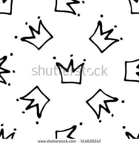 Seamless pattern with crowns. Kid hand painted background.