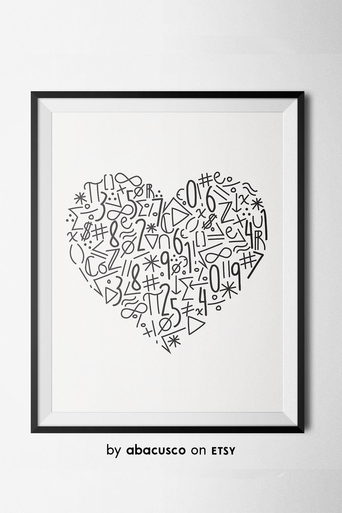 Math Symbol Heart Poster Math Classroom Decor Instant Download