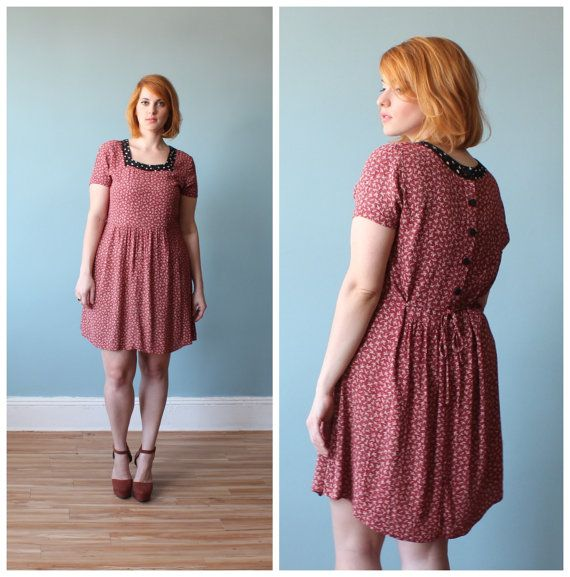 plus size dress / crimson floral babydoll dress / 1990s / xl | moda