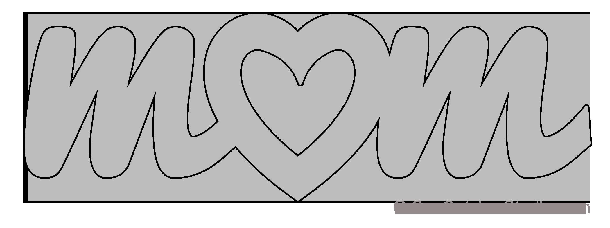 mom heart pattern template stencil printable word art design