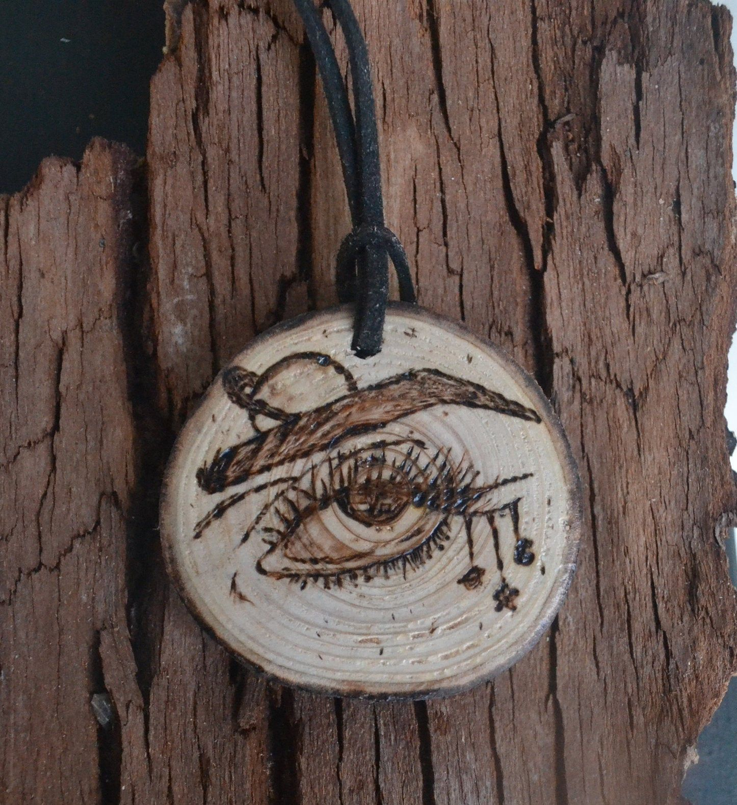 Car accessories Pagan wood slice Rear view mirror hanging Witchy artwork Gift for best friend Stocking stuffers Celestial eye necklace