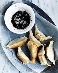 Crispy Gluten-Free Pork Potstickers with Sesame Dipping Sauce Recipe