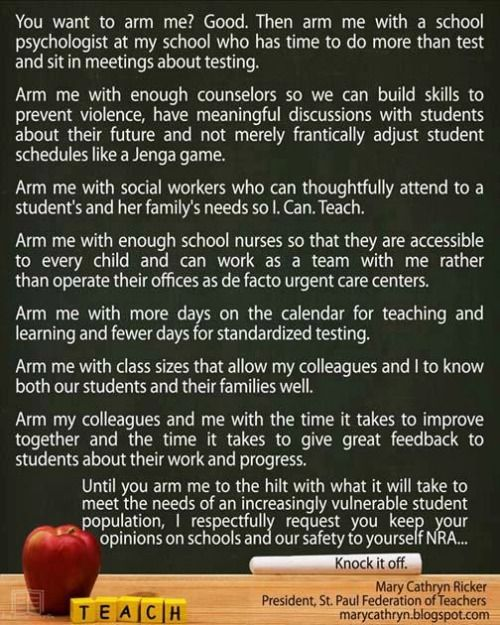 A Teacher Spells Out The Terms And Conditions Of Arming Our Schools | MoveOn.Org