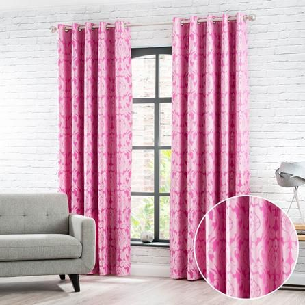 Dunelm Floral Fully Lined Pink Eltham Jacquard Eyelet Curtains ...