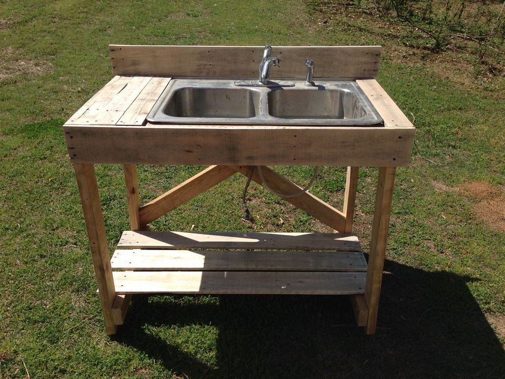 20 Easy Wood Pallet Sink Ideas You Can Build With Less Of Money Outdoor Sinks Old Sink Outdoor Garden Sink