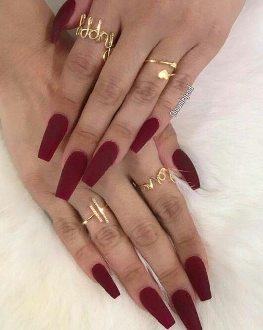 Red Nails Dark Red Red Acrylic Nails Short Coffin Nails Red Nails