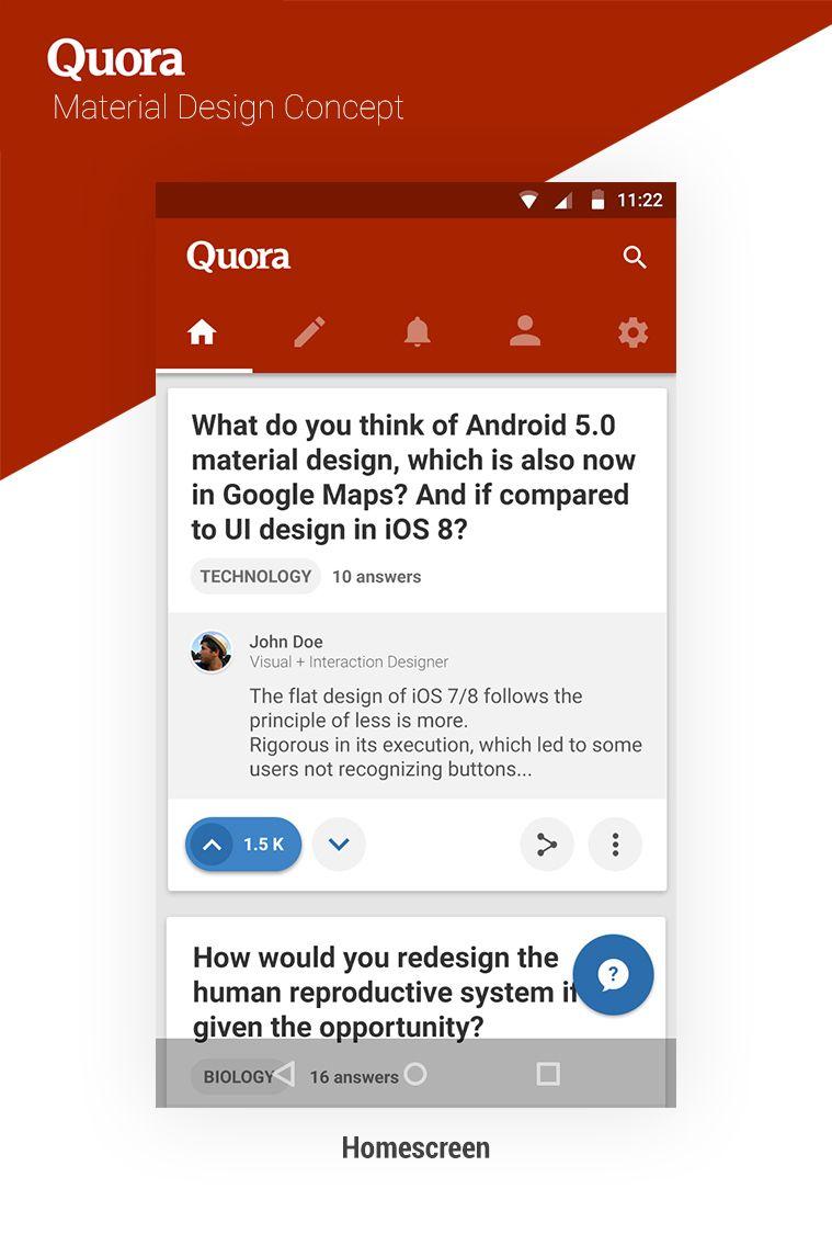 Quora Concept Homescreen Jpg By Mathieu Concept Design Material Design Interactive Design