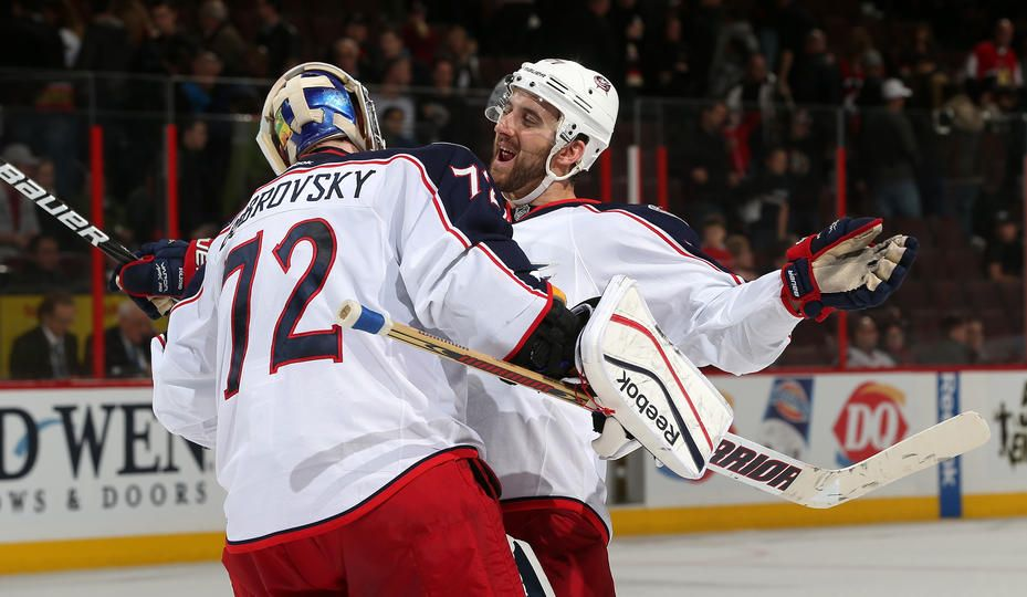 Sergei Bobrovsky #72 and Nick Foligno #72 Columbus Blue Jackets