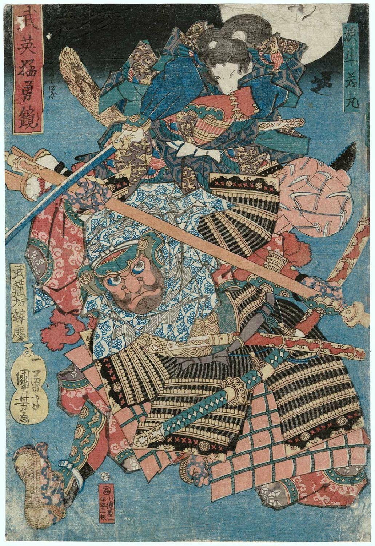 utagawa kuniyoshi minamoto ushiwakamaru and musashibo benkei from the series mirror of military excellen japanese vintage art ukiyoe traditional japanese art