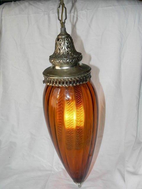 vtg midcentury amber optic glass hanging swag lamp hollywood regency tear drop