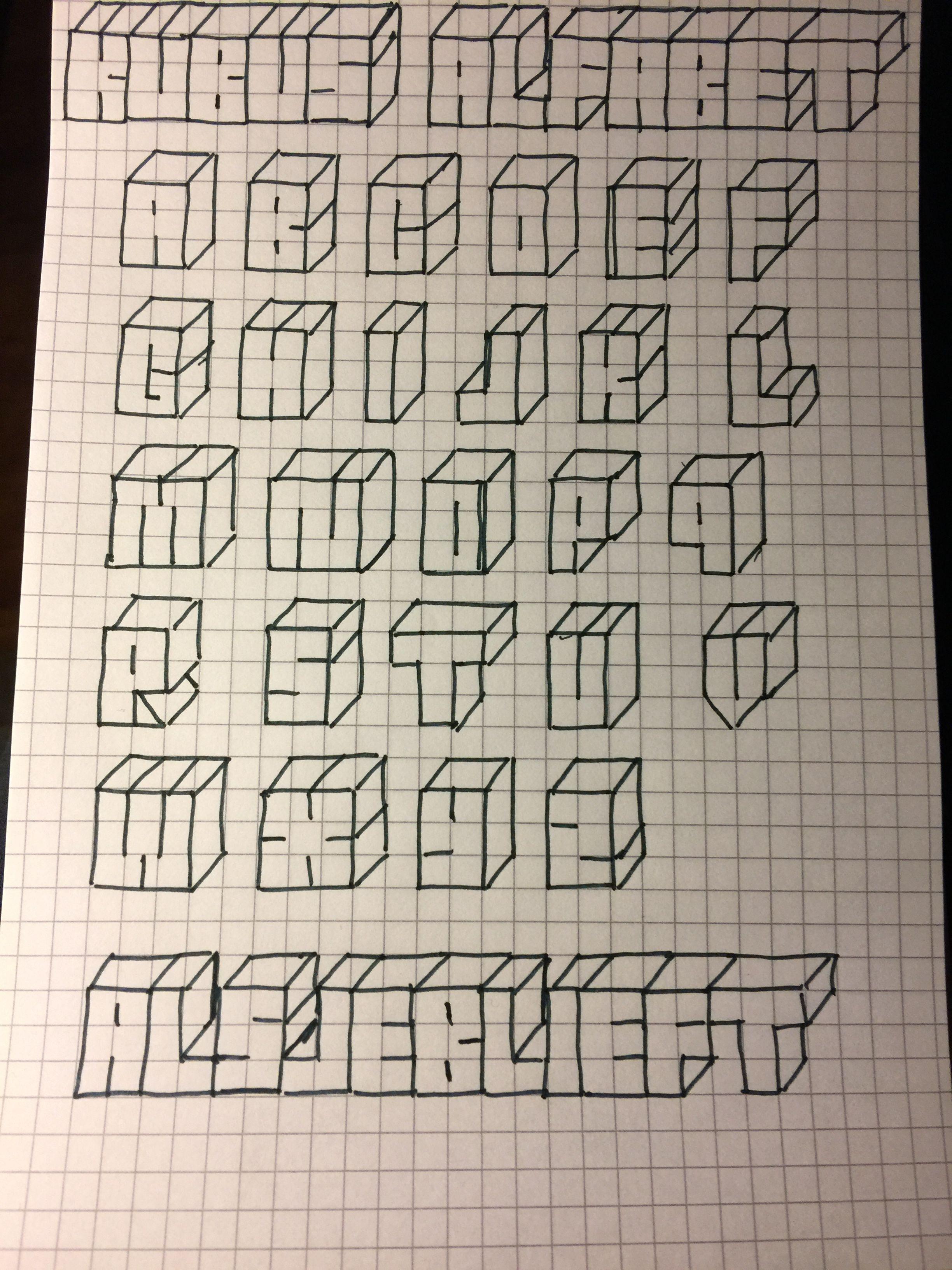 Kubus Alfabet Tipos De Letras Abecedario Estilos De Letras Disenos De Letras