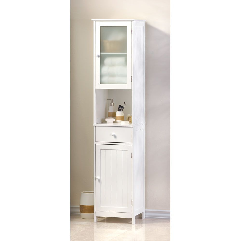 Lakeside Tall Storage Cabinet Tall Cabinet Storage White Storage Cabinets Narrow Bathroom Storage