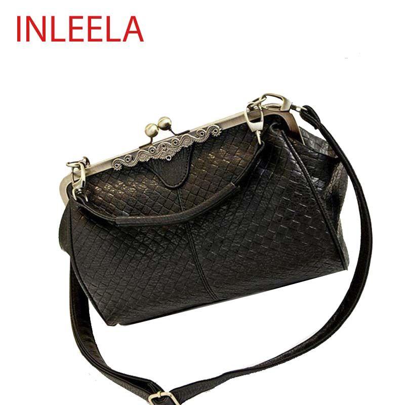 INLEELA 패션 직조 여성 가방 복고풍 여성 어깨 가방 간단한 매체 크로스 바디 가방 여성 메신저 가방