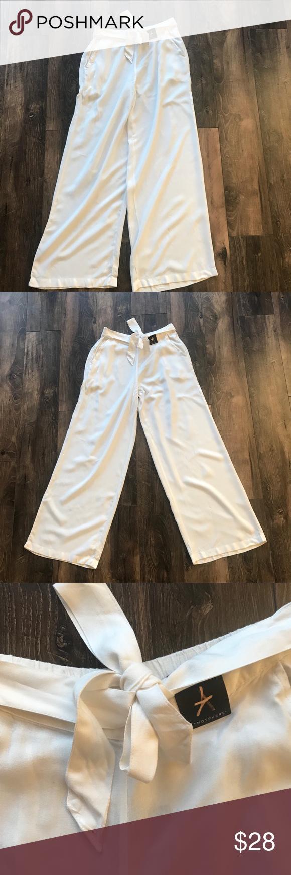 beda86a9baf2 White wide leg pants tie waist NWT