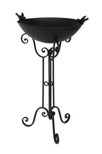 Black Iron Bird Bath And Stand Country Metalworks Ltd