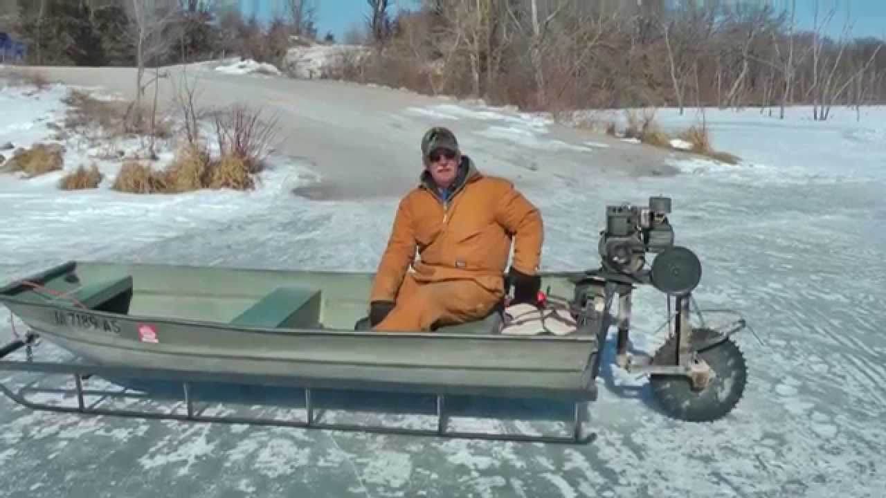 Viral video ice sled ice machine still works old engine for Ice fishing stuff