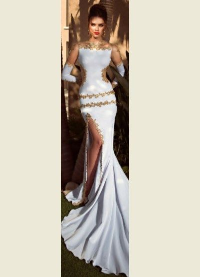 Mermaid White and Gold Wedding Dress | Weddings | Pinterest | Gold ...