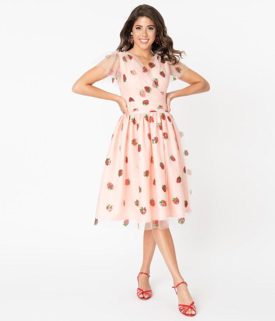 Pink Tulle Strawberry Sequin Midori Swing Dress Swing Dress Pink Dress Unique Dresses [ 1023 x 879 Pixel ]
