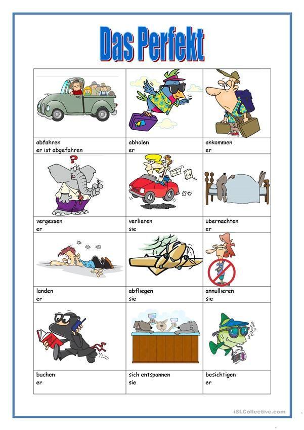 das Perfekt | Deutsch für Kinder (Arbeitsblätter) | Pinterest ...