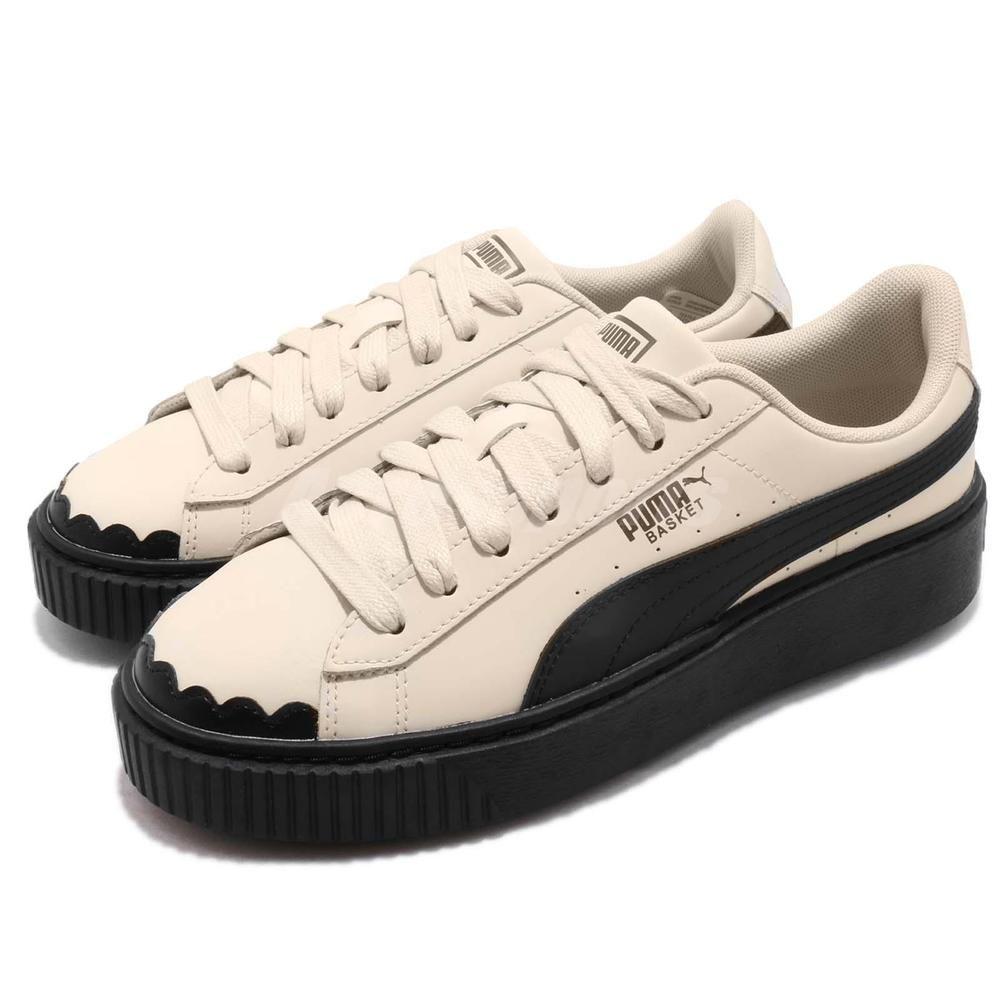 dd7dc2a5599d Puma Basket Platform Scallop Wns Whisper White Ivory Black Women Shoes  366723-04
