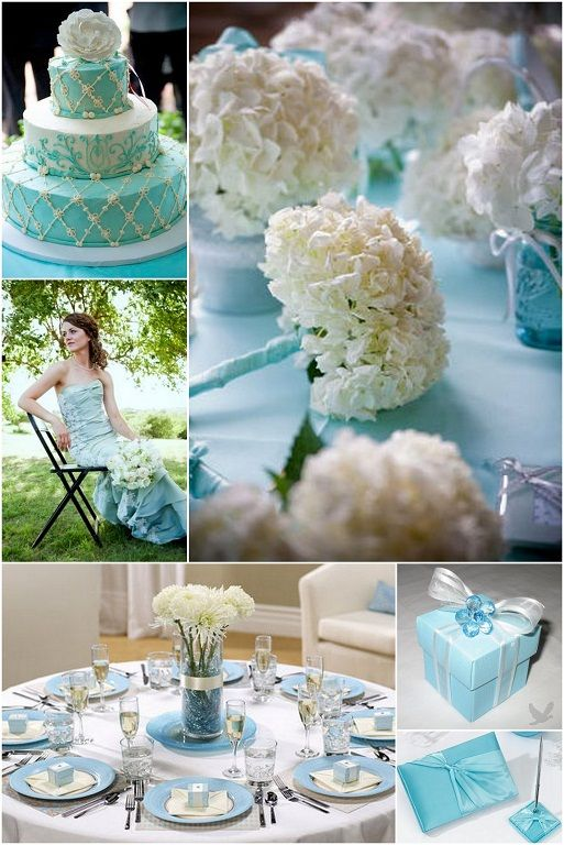 Tiffany Blue Wedding Theme Cake C