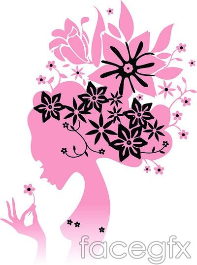 Female silhouettes of women in AI format pattern vector