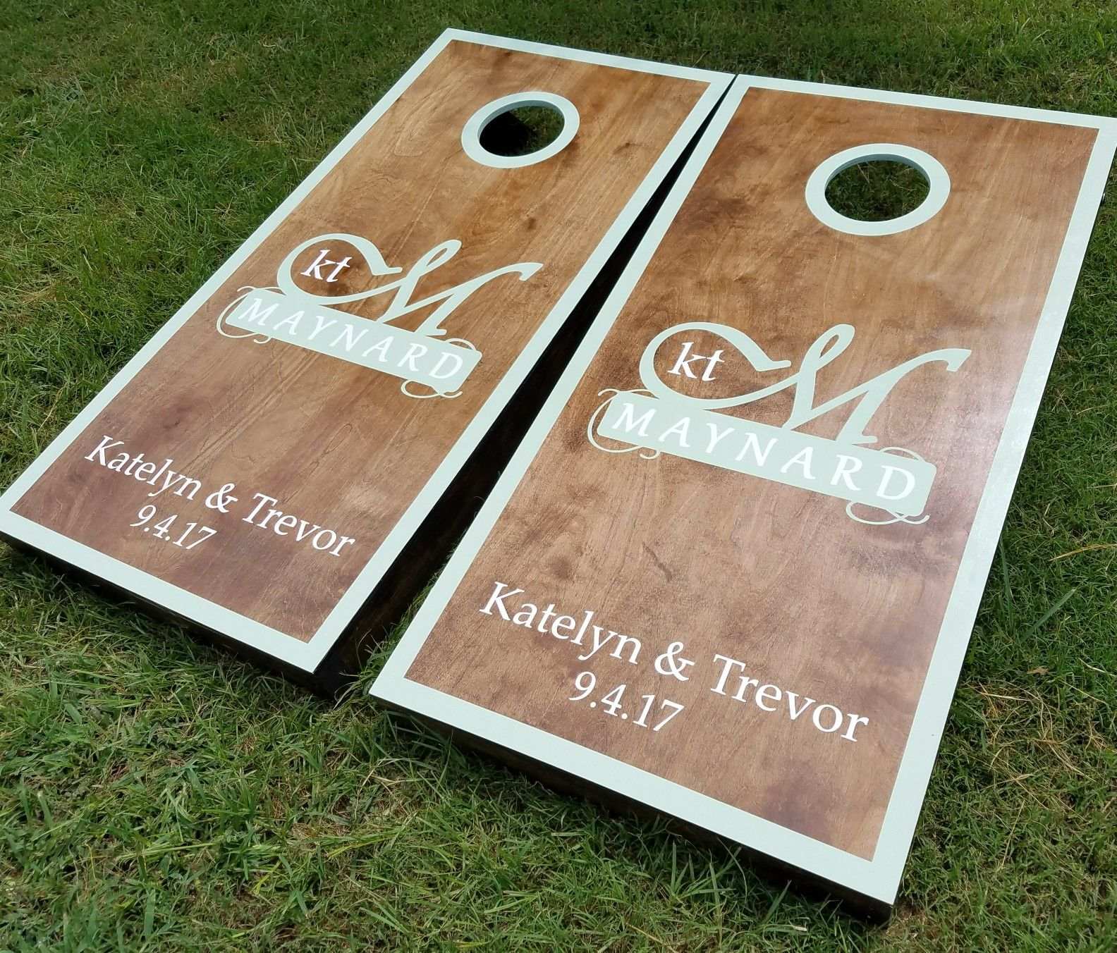 custom wedding cornhole boards. wedding game ideas, custom and