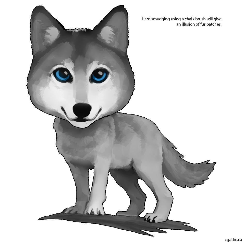 Cartoon Wolf Drawing In 4 Steps With Photoshop Cartoon Wolf Cartoon Wolf Drawing Wolf Drawing
