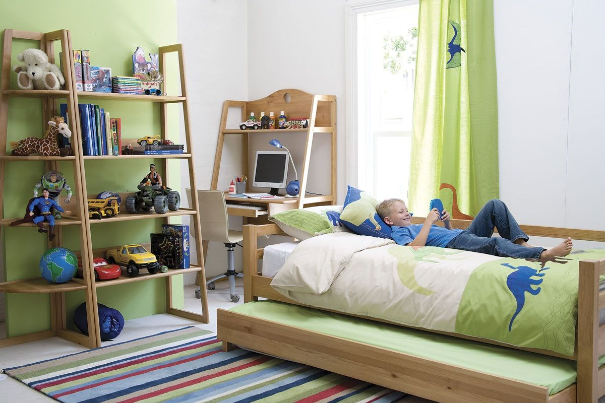 Blue And Lime Green Color Scheme Bedroom Design Ideas Amusing With Wooden Frame Trundle Bed Study Desk Also