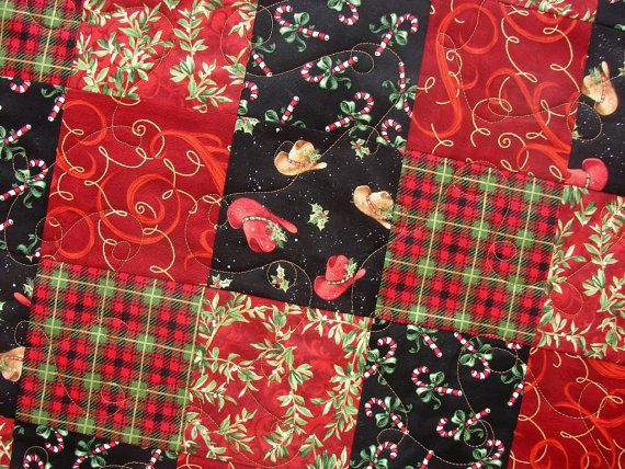 Cowboy Christmas Patchwork Quilt in Red Green and by susiquilts, $95.00