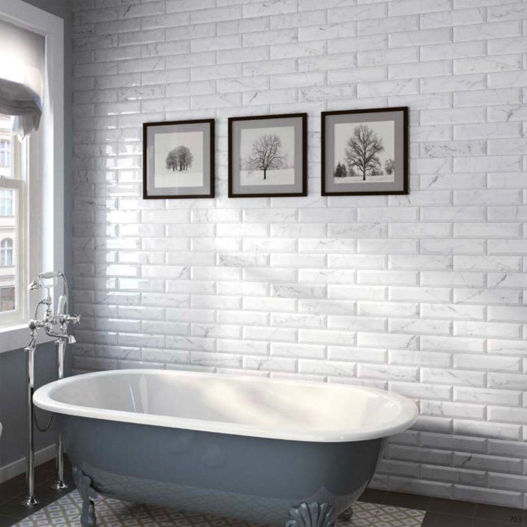Carrara Series Marble Effect Bevel Edge Gloss Ceramic Wall Tiles ...