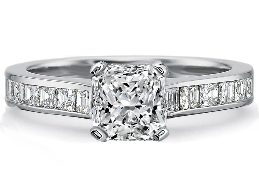Radiant Diamond Engagement Ring square diamonds band  051a6eb126