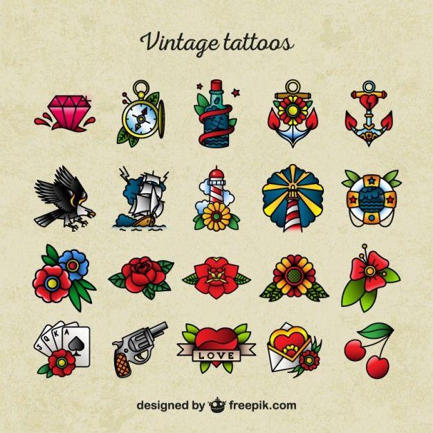 Ícones Tatuagem Da Velha Escola