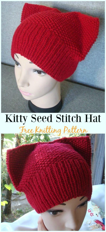 Kitty Seed Stitch Hat Knitting Free Pattern - Fun Kitty #Cat; #Hat ...