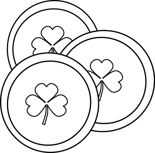 Black And White Saint Patrick S Day Coins Clip Art Black And White Saint Patrick S Day Coins Image St Patricks Day Black And White Clip Art